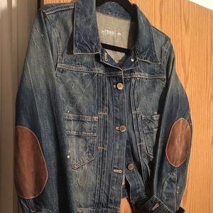 Gap denim jacket with leather patches